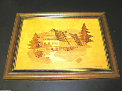 Original Walter Weiss Exotic Wood Marquetry Art - Mountain Chalet