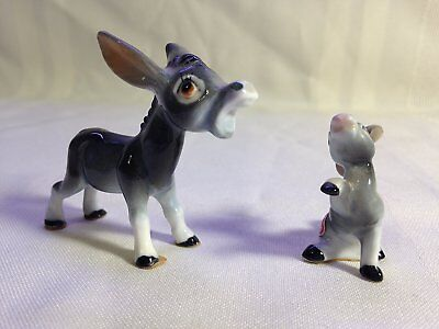 Vintage Whimsical Miniature Bone China Japan Donkey/Mule & Baby Figurines Set