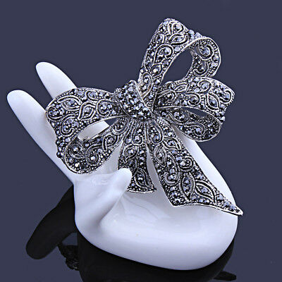 Carved Unique Vintage Large Bowknot Bow Brooch Pin