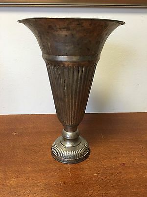 Vase Vintage Plated Metal 1920's Trumpet Fluted Ribbed Tapered Hammered Footed