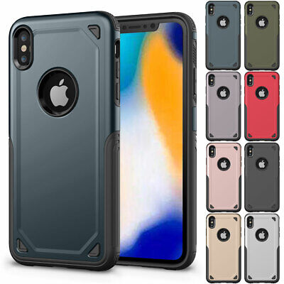 For iPhone XR 8 7 6s Plus Heavy Duty Hard Shockproof Defender Rubber Cover Case