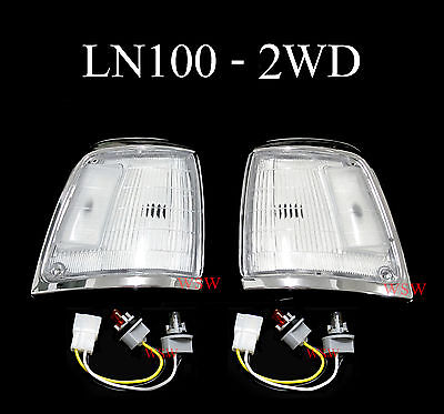 For 88 97 Toyota Hilux Ln100 2Wd Clear Chrome Indicator Corner Light Pair Front