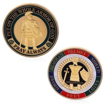 Gold Plated Put On The Whole Armor Of God Commemorative Challenge Coin Souvenir