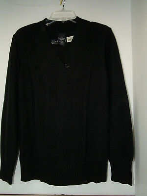 Women's Faded Glory Cable Vneck Sweater Size LG Heavy Weight Color is Black NWT!