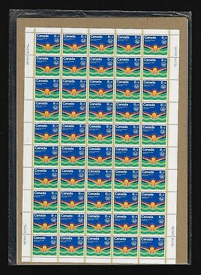Canada Semi-Postal Stamps — Full Pane of 50 — Water Sports: Swimming #B4 — MNH