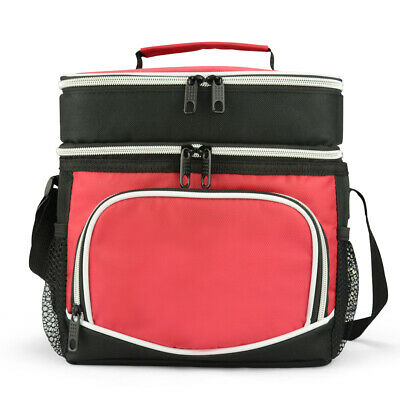15L Dual Compartments Insulated Lunch Bag Cooler Bag School Picnic Work Outdoor