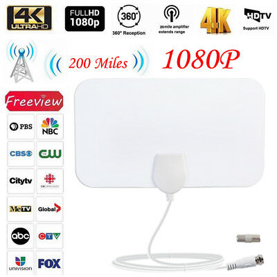 200 Mile Range Antenna TV Digital Skylink 4K Antena Indoor HDTV 1080P New White