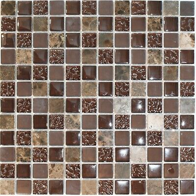 Decor8 CHOC MIX MARBLE MOSAIC TILE 300x300x8mm Textured Glass CHOCOLATE