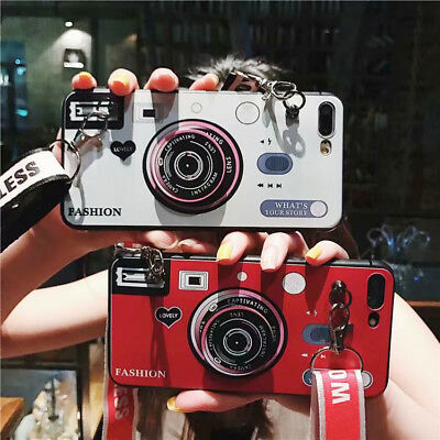 Lanyard Retro 3D Camera TPU Silicone Phone Case Cover For iPhone X 8 7 6S Plus