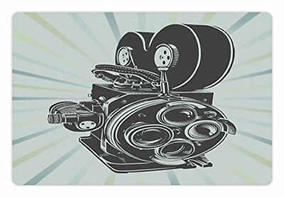Lunarable Modern Pet Mat for Food and Water, Vintage Movie Camera Figure in on