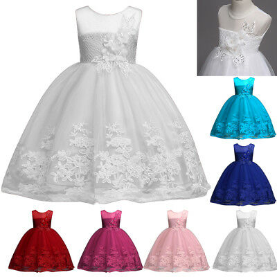 Flower Girls Princess Dress Kid Party Wedding Pageant Formal Lace Dresses