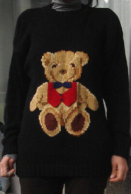 "SALE! Vintage "" Teddy Bear "" Hand Knit Sweater 90's  100% Cotton RL Polo - like"