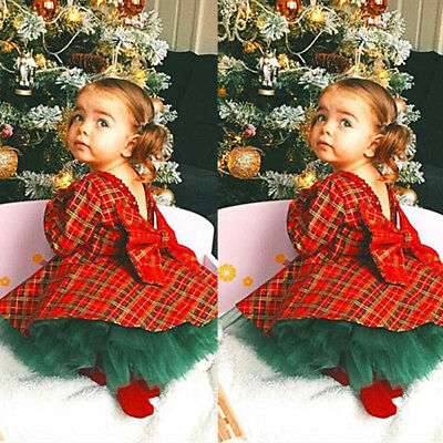 Toddler Baby Girls Princess Plaid Tops Dress Skirt Clothes 2Pcs Xmas Outfits Set