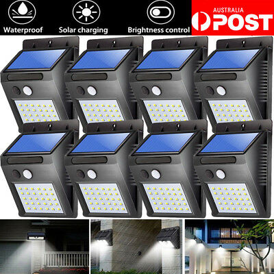 4x 30 LED Solar Power PIR Motion Sensor Lights Outdoor Garden Wall Light Lamp