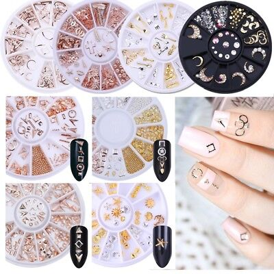 Gold Starfish Star Flat Rhinestone Hollow Studs Nail Art 3D Decoration in Wheel