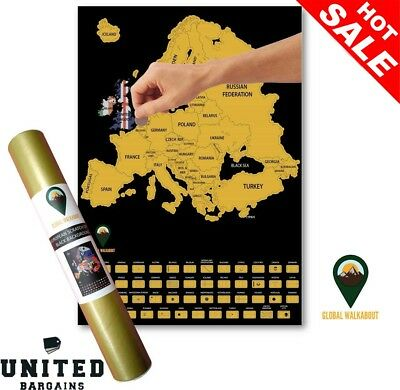 Global Walkabout Scratch Off Europe Map with Flags background – Deluxe...