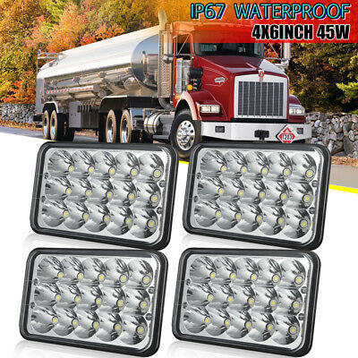 "Kenworth T400 T600 T800 W900L W900B HK Classic 120/132 DOT 4x6"" LED Headlights"