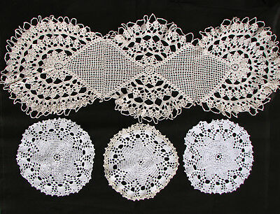 Old Vintage Crochet Hand Knitted Tablecloth Cover Cloth Home Deco Lot of 4