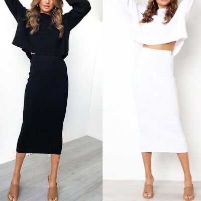Women Ladies Sliming Bodycon Stretch Elastic High Waist Midi Pencil Skirt HOT