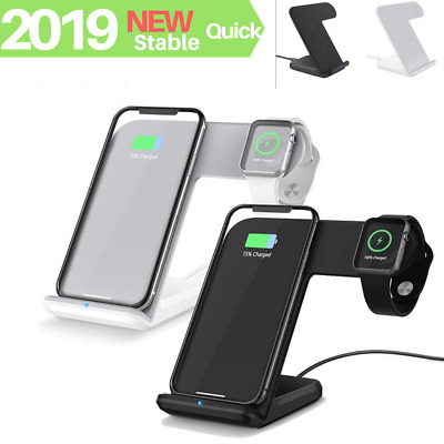 2019 Qi Wireless Fast Charger Dock Station Stand 2in1 For Apple Watch iPhone X 8