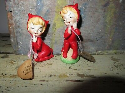 pair of George goode lil little red DEVIL FIGURINES JOSEF originals pixie
