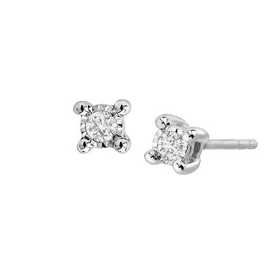 1/10 ct Diamond Stud Solitaire Earrings in Sterling Silver