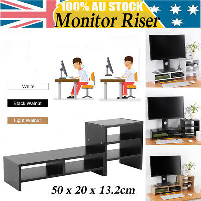 3-Tiers Desktop Monitor Stand LCD TV Laptop Rack Computer Screen Riser Shelf