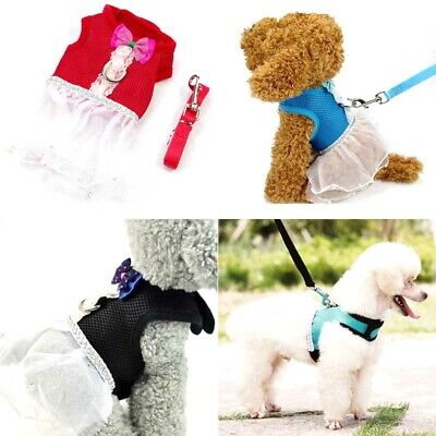 Soft Mesh Pet Dog Cat Control Vest Harness Safty Strap Leash Princess Tutu Dress
