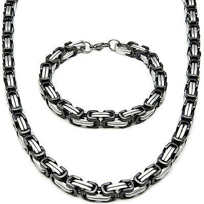 5MM x 80cm Set Byzantine King's Chain + Wristband Stainless Steel Silver Black