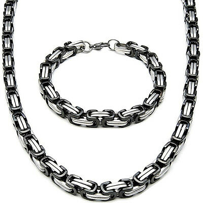 5MM x 90cm Set Byzantine King's Chain + Wristband Stainless Steel Silver Black