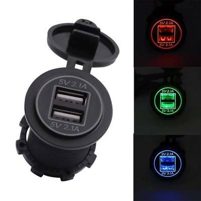 DC 12-24V Car Motorcycle Dual USB Charger Socket Power Adapter Outlet Waterproof
