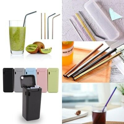 Reusable Drinking Straw Portable Outdoor Stainless Steel/Titanium/Silicon Straws
