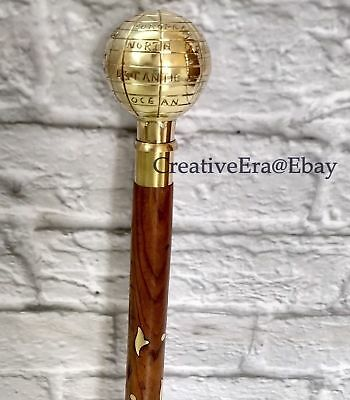 Antique Brass Globe Handle Walking Stick Victorian Style Vintage Wooden Canes