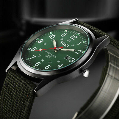 New Military Army Mens Date Canvas Strap Analog Quartz Sport Wrist Watch Gift UK