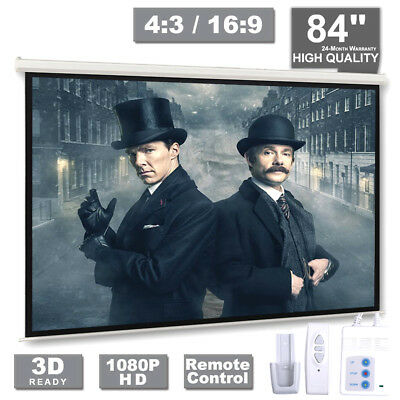 """84"""" Inch 4:3 Electric Motorized HD Projector Projection Screen Cinema Theater UK"""