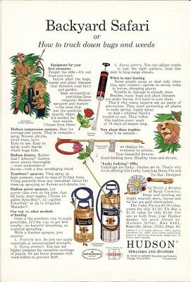 Hudson Sprayers Dusters Backyard Safari Track Down Bugs Weeds Vintage Ad 1969