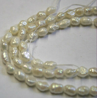 Natural Freshwater Pearls 16In Strand Gemstones Approx 4X6Mm Each Pearl Nk