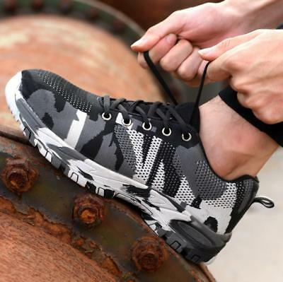 Mens Camouflage Steel Toe Safety Work Shoes Mesh Sneakers Hiking Sports Shoes