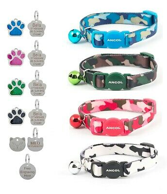 Cat Collar Ancol Camouflage Safety Release Pink Blue Green Optional Engraved Tag