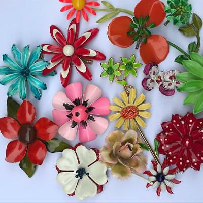 1960 Vintage Flower Power Enamel pin brooch collection lot
