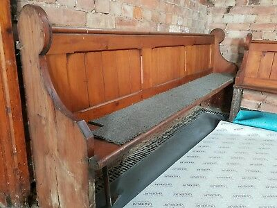 VINTAGE OLD ANTIQUE PITCHPINE CHURCH PEW (7.5ft and 11ft long pews)