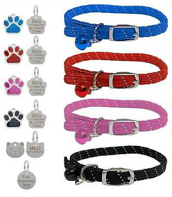 Ancol Reflective Softweave Safety Cat Collar With Optional Engraved Tag