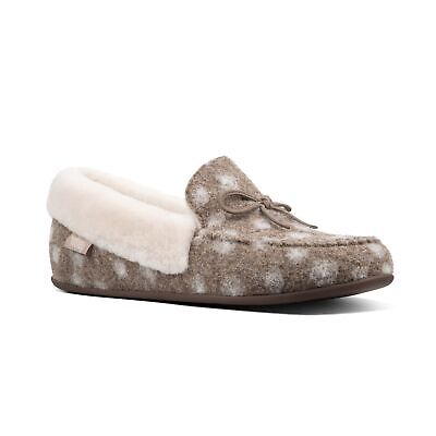 466a8b5f35f3a5 FitFlop™ CLARA MOCCASIN DOTS Ladies Womens Warm Lined Wool Slippers Taupe