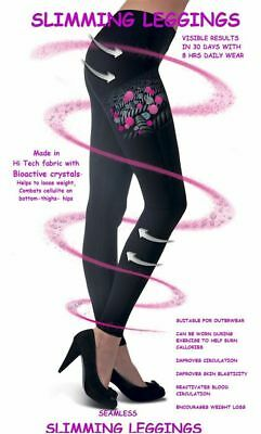 Ladies Womens Anti Cellulite Calorie Burning Slimming Black Leggings Size 8-30