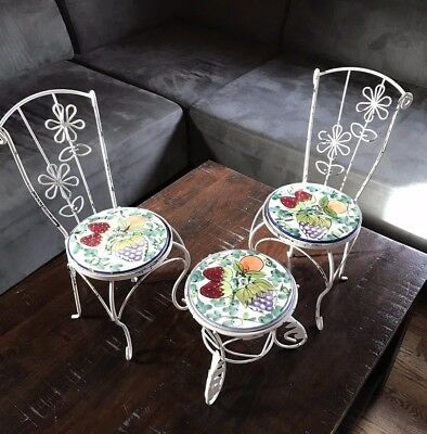 Vintage Wrought Iron Ceramic Doll Parlor Bistro Ice Cream Table & Chairs Decor