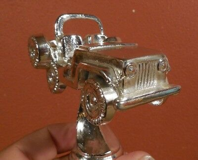 Vintage JEEP CJ 5 7 Willys Jeep 4 x 4 Truck Chrome Metal Trophy Top Mascot