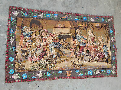 Vintage French Beautiful Scene Tapestry with Embroided Border 108x65cm (A440)