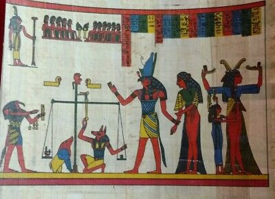 EGYPTIAN PAPYRUS, HORUS symbol of protection & ANUBIS, 20x15 Cm Hand Painted