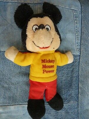 OLD official plush Vintage MICKEY MOUSE POWER doll toy 9""