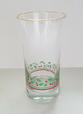 Arbys 1980s Christmas Holiday Holly Berry Beverage Water One Glass Gold Trim
